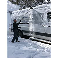 SnoShark-XL 除雪和除冰工具 - 可延伸至 54 英寸(2 个锁定位置) - 可折叠,方便存放 - 重型耐用 - 泡沫垫防止刮伤