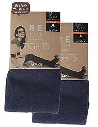 ATSUGI 厚木 连裤袜 RELISH ORIGINAL 混羊毛 混色连裤袜 相当于450D 〈2双装〉 蓝色 日本 L~LL-(日本サイズ2L相当)