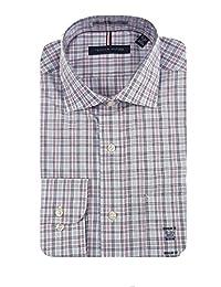 TOMMY HILFIGER 男式常规版型长袖衬衫 粉 蓝 白 Plaid 15-15.5 x 34/35