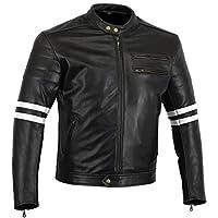 摩托车装备 The Rocker 摩托车黑色皮革咖啡色赛车夹克 CE1621-1 PU 盔甲,白色,英国码 36 欧码 46 小码
