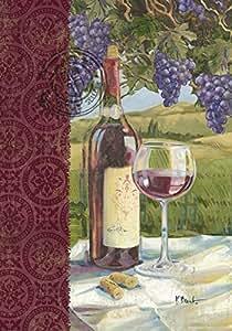 Toland Home Garden Vino 12.5 x 18 Inch Decorative Grape Vine Vineyard Wine Bottle Glass Garden Flag