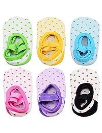 6 双防滑婴儿/幼儿芭蕾风格女婴袜,适合 9-32 个月。