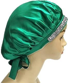 Imprint By Mau 柔软丝绸闪亮帽子夜帽,缎面光滑水钻睡帽,宽带,防止**和毛躁