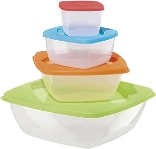 Oggi 5210 Rectangular Storage Bowls with Lids, Set of 4