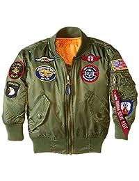 Alpha Industries 男童MA-1带补丁轰炸机夹克