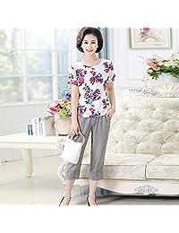 圣维澳 女士T恤上衣女 新款休闲七分裤 夏装两件套女 6601+903