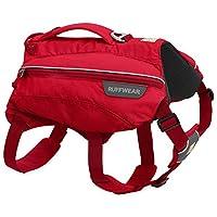 Ruffwear 宠物狗水袋背包,含 2 x 600 毫升水瓶,中型狗适用,可调整尺寸,尺码: M,红色(红色矩形),Singletrak 包,50302-615M