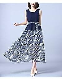 连衣裙女装夏时尚无袖背心裙印花雪纺女神长款连衣裙LK-LA9010