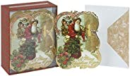 Punch Studio Christmas Dimensional Greeting Cards: Old St. Nick with Gold Foil Embellishment, Set of 12