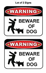 "2 只装""Warning Beware of Dog""22.86 厘米 x 29.21 厘米层压趣味标志"