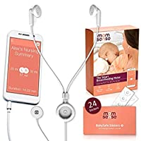 Momsense Baby *喂养监视器全新 2018-24+24 额外贴纸:智能手机应用程序用于跟踪、监控和哺乳记录仪,带耳塞和婴儿传感器带贴纸