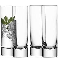 LSA International G068-09-991 玻璃长饮杯250毫升,透明 - 4件套