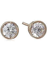 Plated Sterling Silver Swarovski Zirconia (1cttw) Bezel Stud Earrings