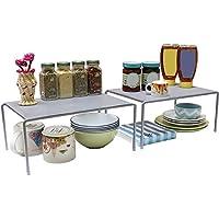 DecoBros 可扩展堆叠式厨房柜台和柜台收纳架,银色 银色 RK-018-1