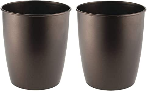 mDesign Round Metal Small Trash Can Wastebasket, Garbage Container Bin for Bathrooms, Powder Rooms, Kitchens, Home Offices - Pack of 2, Durable Steel with Bronze Finish