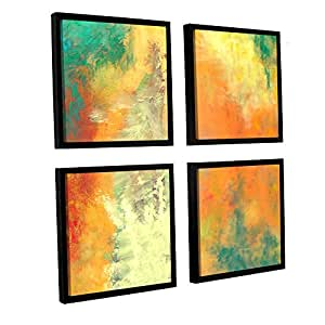 """ArtWall 4 Piece Herb Dickinson's Abstract 204 Floater Framed Canvas Square Set, 36 x 36"""""""
