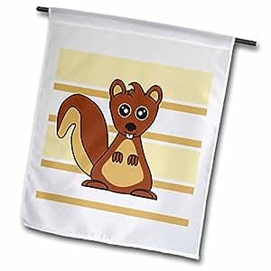 janna salak 设计林地生物–可爱棕色松鼠印花 CREAM 灰褐色–旗帜 12 x 18 inch Garden Flag
