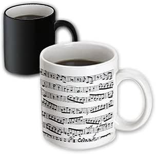 3dRose mug_179702_3 Music Notes Pattern Black & White Piano Sheet Musical Notation Magic Transforming Mug, 11 oz, Black/White