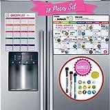 冰箱日历 | 磁性干擦白板冰箱收纳盒带厨房杂货清单,3 个细记号笔,12 个磁图标和橡皮擦 - 18 个装 | 适合家庭每月、周和日常计划