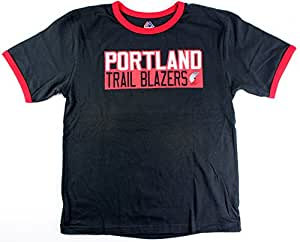 Majestic Damian Lillard Portland Trail Blazers #0 NBA 青年垂直姓名和数字戒指 T 恤(青少年 XL 码)