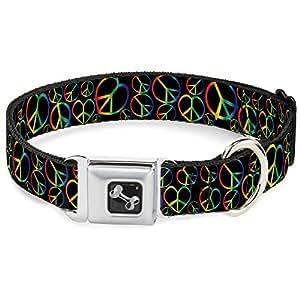 绚丽彩虹和平标志 Hearts 全趣味动物*带宠物项圈 Peace Heart Black/Rainbow Ombre 中