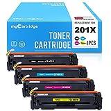 MYCARTRIDGE 4 盒兼容替换件 适用于 HP 201X CF400X CF401X CF402X CF403 X 201A CF400A 墨盒 高容量 适合惠普 Color LaserJet Pro M252dw M277 M277dw 打印机