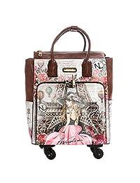 Nicole Lee 粉色拉杆手提包,配有 4 个转轮和电子隔间旅行手提袋