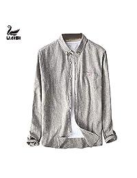 美国UAISI男士春季新款麻棉长袖衬衫