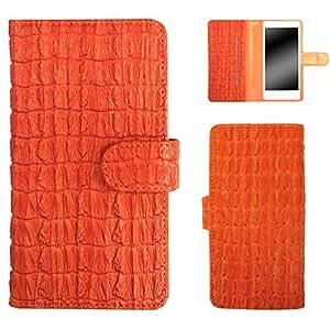 白色坚果鳄鱼图案手机保护壳翻盖式 橙色 1_ iPhone7 Plus