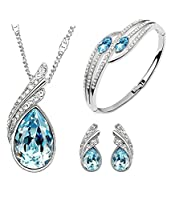 Youbella Blue Crystal Pendant Necklace Set With Earrings And Bracelet For Girls/Women