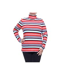 Tommy Hilfiger Womens Ribbed Long Sleeve Turtleneck Top