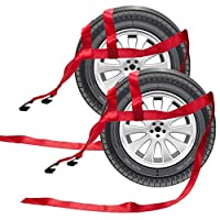 BANG4BUCK 2 件通用可调节系带拖车篮带适用于 Demco Kar Kaddy Dollys 带 2 个平钩(红色-Rachet 带)