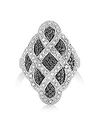 Something For Me 1/2 克拉重量 - 镀铑黄铜白色和黑色钻石戒指