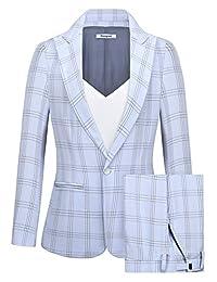 CMDC 女式 2 件商务休闲披肩领正式运动裤套装 MI35
