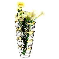 Crystalite Bohemia 波希米亚波浪系列34cm花瓶8KG49/99U29/340(金色) 水晶玻璃透明波浪花瓶(亚马逊自营商品, 由供应商配送)