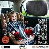 """汽车车窗 XL 号遮阳帘(3 件装) - 额外防护*编织车窗遮阳帘,适合婴儿和儿童使用 - 阻挡 98% 以上的有害紫外线 - 强力静电吸附 Cars & Small SUVs (19"""" x 12"""") MDC31500"""