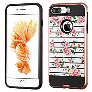 MyBat Brushed Hybrid Protector Cover for iPhone 7 Plus - Pink Fresh Roses