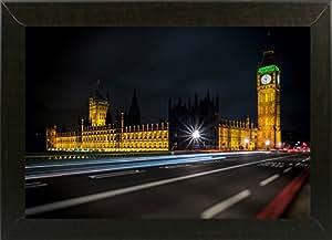 Frame USA Colors in The Night 带框印刷品 27.94cm x 40.64cm Giuseppe Torre-GIUTOR115254,11x16.75,实惠的巴西胡桃木 中号