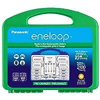 Panasonic 松下电器 eneloop 爱乐普 KJ17MCC82A 电源套装,8AA,2AAA,2 C适配器,2 D适配器,高级独立电池充电器和塑料收纳盒(盒体颜色可能有所不同)
