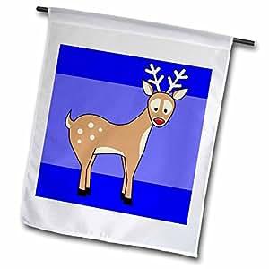 janna salak 设计圣诞节–可爱红色 nosed 驯鹿–旗帜 12 x 18 inch Garden Flag