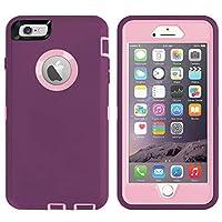 ai-case 内置屏幕保护 TOUGH 4合1坚固耐用防震带支架适用于 iPhone 6Plus / 6S Plus 粉红色/紫色
