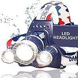 *新和*佳版本前灯,明亮头灯,提供 6000 流明,3 个原装 Cree LED 2 个强力可充电电池,舒适头灯,适合户外和室内,红色灯 Apollo Hl-0542571140