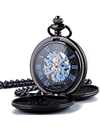 manchda 双封面罗马数字表盘镂空男式女式口袋礼品手表