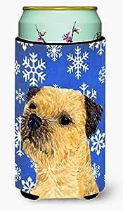 Caroline's Treasures LH9278-Parent Border Terrier 冬季雪花节日*饮料隔热器适用于苗条罐 LH9278MUK,多色 多种颜色 Tall Boy LH9278TBC