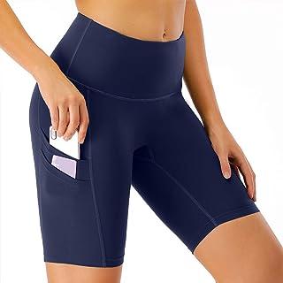 CongYee 女式高腰瑜伽短裤,带侧口袋,收腹健身锻炼跑步自行车运动短裤