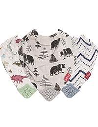 Nuby 双面 Natural 棉质平纹细布3件套恐龙 / Bear / 条纹出牙围兜绿色 / 灰色 / 蓝色