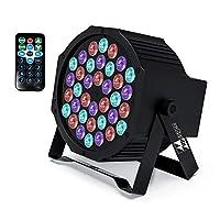 DJ Lights Missyee 36 X 1W RGB LEDs DJ LED 向上包装声控舞台灯光 兼容 DMX 9 种模式 LED 向上照明 适合婚礼、活动、派对、节日(1 件装)