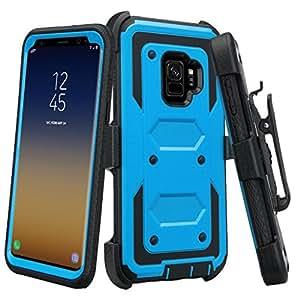 SOGA 三星 Galaxy S9 手机壳【TriGuard】防震坚固混合装甲手机壳带皮带扣皮套和内置屏幕保护膜 蓝色