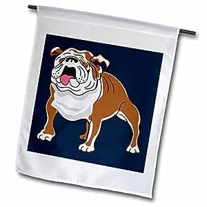 dooni Designs 复古风格漫画–复古风格动物宠物狗逼真棕色和白色斗牛犬卡通深蓝色背景–旗子 12 x 18 inch Garden Flag