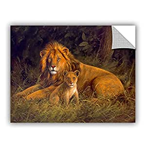 "ArtWall Kilian's Lion And Cub Removable Wall Art Mural, 14"" x 18"""